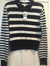 Michael Kors Black & Cream Stripe Sweater Top Size Large Women's Nwt Jumper