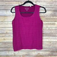 Chicos 0 Womens Small Scoop Neck Tiered Front Tank Top Stretch Woven Solid Pink