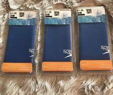 Lot of 3 Speedo Junior Silicone Stretchy Swimming Swim Cap Blue One Size 6-14 Yr