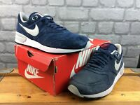 NIKE MENS UK 9 EU 44 AIR ODYSSEY LEATHER TRAINERS NAVY GREY RED RRP £75 M