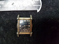 VINTAGE 1953 THREE STONE BLACK DIAL BULOVA SQUARE WATCH FOR YOU TO FIX OR PARTS
