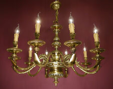 LARGE SHINY BRASS MAZARIN 10 LIGHT ARMS SPANISH LIGHTINGS CHANDELIER LAMP