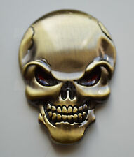 Chrome 3D Metal Bronze Skull Badge for Peugeot 107 207 307 1007 407 HDi Partner