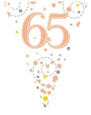 White & Rose Gold 65th Birthday Foil Bunting Pennant Banner Party Decoration
