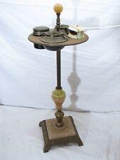 Cast Iron Art Deco Slag Glass Smoking Floor Stand w/Electric Lighter Ashtray