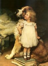 Stunning lovely Oil painting little girl with her pet dog who is taller No Frame