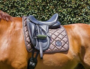 Saddle Pad - Dressage, Full/Cob, Chocolate Embossed - Pimp My Pony