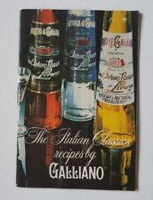 Vintage Galliano Italian Liquour 1978 Food Drink Cocktail Recipe Bartender Guide
