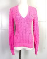 vtg 90s euc Polo Ralph Lauren Sport ladies Pink Cable Knit V-Neck Sweater XS