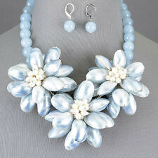 Polished Light Blue Colored Shell Beaded Pearl Flower Necklace With Earrings
