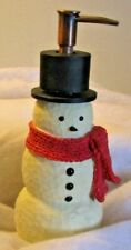 Snowman Foaming Hand soap dispenser with Black Top hat & red Scarf Resin