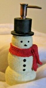 Snowman Design Foaming Hand soap dispenser with Black Top hat & red Scarf Resin