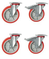 "200mm heavy duty castors, 2x Swivel 2x Braked Casters. 8"" poly nylon wheels RT23"