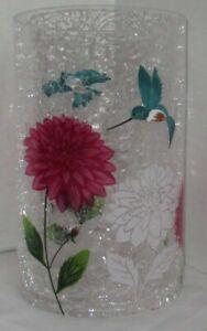 Yankee Candle Large Jar Holder spring summer GARDEN CRACKLE hummingbirds flowers