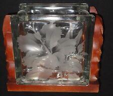 """5.7"""" vintage etched glass hibiscus block vase hawaiian"""