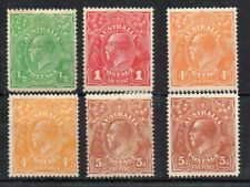 Australia 1914-20 Sideface values to 5d MLH/MH
