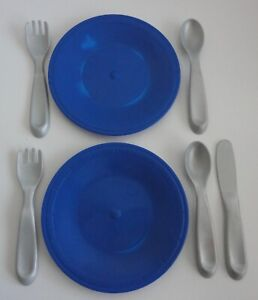 Step 2 Play Kitchen Blue Plates Forks Spoons Knife Silverware Lot