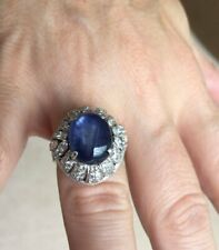 Blue Cabochon Star Sapphire Stone & Cubic Zirconia 925 Pure Silver Cocktail Ring