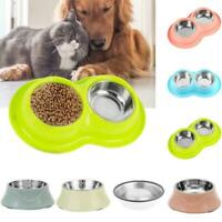 Cat Dog Pet Feeding Bowl Stainless Steel Food Water Dish Feeder One / Dual Bowl