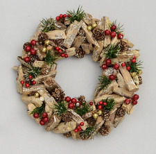 Natural Cone/Wood/Berry Christmas Wreath 28cm New Design