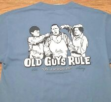 """The Old Guys Rule t-shirt Three Stooges (M) Blue / Says """"Oh...a wiseguy, eh?"""""""