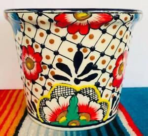 Lg Mexican Ceramic Flower Pot Planter Folk Art Pottery Handmade Talavera #1