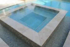 Bullnose Travertine Tumbled Coping Stone Tile 610x406x30mm, 406x406x30mm
