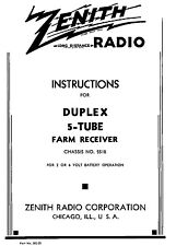Owners Manual Reprint Zenith 5 Tube Farm Receiver  Chassis 5518