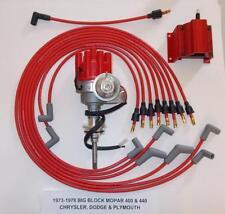 MOPAR 440 1973-1978 RED Small Female Cap HEI Distributor, coil, Spark Plug Wires