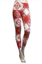 Women Red Blue Color Block Aztec Tribal Stylish Print Leggings Tight Pants USA