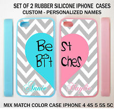 NEW GREY CHEVRON PINK BLUE HEART BFF BEST FRIENDS CASES For iPhone 6S 6 4S 5S 5C