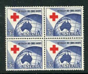 AUSTRALIA; 1954 early QEII red cross issue fine MINT MNH BLOCK