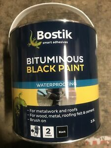 Bostik Bituminous Black Paint For Metalwork & Roofs 2.5L £15  Delivered