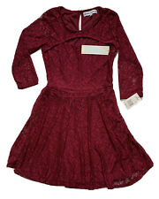Almost Famous Burgundy Lace Fit & Flare Knee Length 3/4 Sleeve Dress~Size S~Nwt!