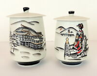 Vintage Japanese Painted Jars With Lids Canister Porcelain Made In Japan Marked