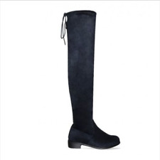 Womens Ladies Over The Knee Thigh High Flat Block Heel Stretch Boots Shoes Size