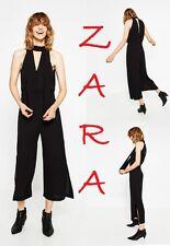 ZARA Black Tie Halter Neck Jumpsuit Sleeveless New (RT$75.90)Crop Rompers Size M