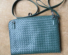 emerald, green, pure leather intrecciato,weave/shoulder/cross messenger /ipads