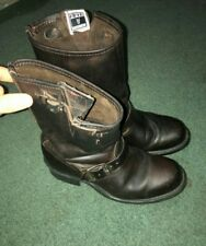 Vintage Women's Frye Engineer Boots Gaucho Brown Leather Size 8.5 Work Boot Rare