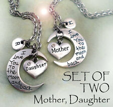 Mother & Daughter I Love You to the Moon and Back Necklaces - Set of 2 Necklaces