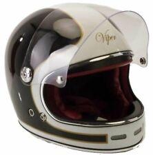 Viper F656 Vintage Retro Fibreglass Full Face Motorcycle Helmet - Black/White