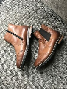 REMONTE TAN LEATHER ANKLE BOOTS SIZE 39 UK 6