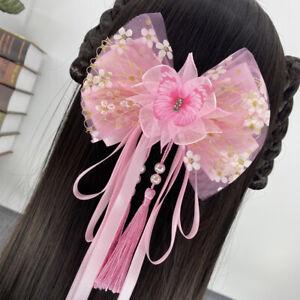 Bowknot Hair Clip Girls Women Princess Floral Butterfly Tassel Hair Accessories