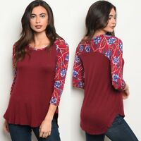 NWT Women's Medium Burgundy Red Floral Raglan 3/4 Sleeve Blouse BOUTIQUE TOP