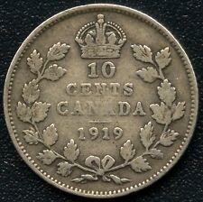 1919 Canada 10 Cent Coin ( 2.32 Grams .925 Silver )
