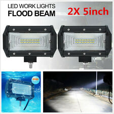 2Pcs 12V/24V 5inch 168W Flood LED Work Light Bar Off Road Boat Fog Driving Lamp