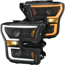 Anzo Black Projector Plank Style Switchback Headlights for 2015-2017 Ford F-150