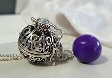 Silver & Purple Filigree Harmony Chime Ball Pendant w/Chain