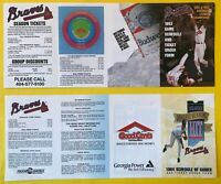 1993-1994 Atlanta BRAVES UNUSED Vintage Baseball LOT set 2 Pocket schedules card