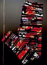 New Unicorn TC LuLaRoe Leggings HALLOWEEN Red ROSES & SKULLS Stripes On BLACK